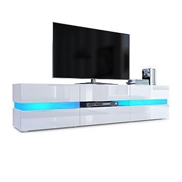 Meuble Tv Armoire Basse Flow En Blanc Matblanc Laqué Haute