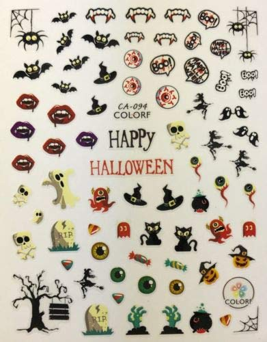 Nail Art 3D Decal Stickers Happy Halloween Bats Vampire Teeth Boo RIP CA094 ()