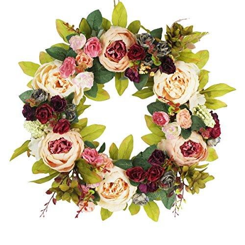 Peony Flowers Silk Front Door Wreath 16 Inch -Handcrafted on a Grapevine Wreath Base- Display in Spring, Easter, and Summer by Emlyn