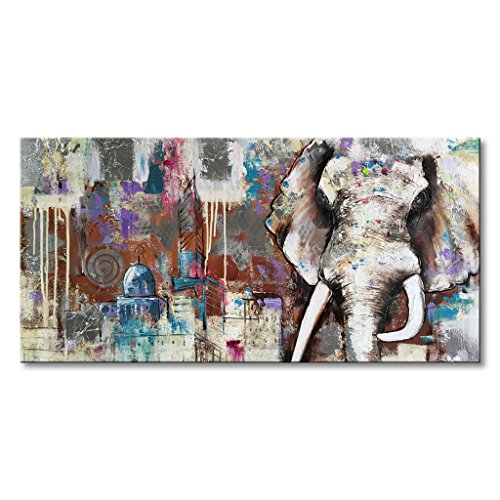 Everfun Handmade Modern Artwork Elephant Canvas Wall Art Animal Oil Painting Thailand Home Decoration with Frame for Living Room Bedroom Dining Room O…