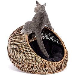MUJING Cama de Mimbre para Gatos de Interior: una cabaña escondida para Gatos Moderna Cubierta de Casas de ratán Mascotas en cúpula, Lavable