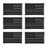 velcro sew on patch - 6 Pack - American Flag Embroidered Patch Magic Velcro or Sew On Military / Police flag Patch (black)