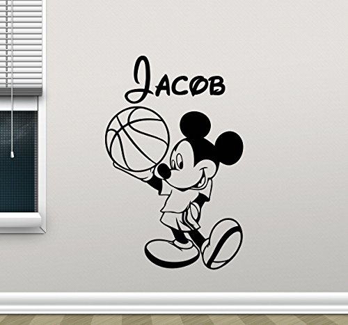Cool Disney Names (Personalized Mickey Mouse Wall Decal Boy Sport Basketball Ball Custom Name Mickey Mouse Walt Disney Cartoons Vinyl Sticker Baby Boy Customized Kids Wall Art Bedroom Nursery Wall Decor Mural 112crt)