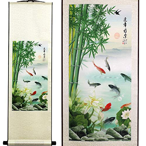 SweetHome Asian Silk Scroll & Picture Scroll & Wall Scroll Calligraphy Hanging Artwork (Bamboo and Fish)