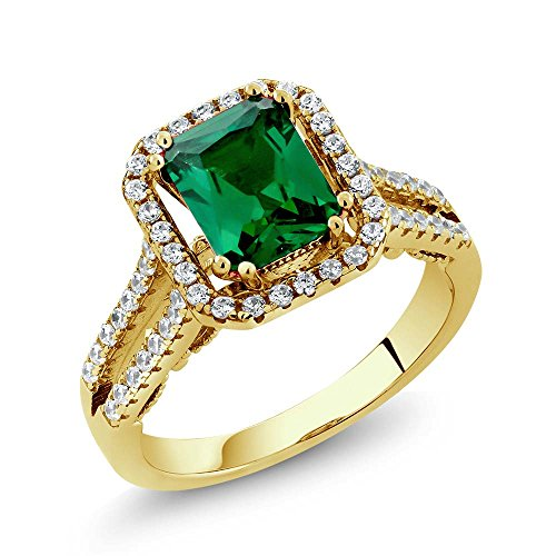 Gem Stone King 2.78 Ct Octagon Green Simulated Emerald 18K Yellow Gold Plated Silver Ring (Size 8) ()