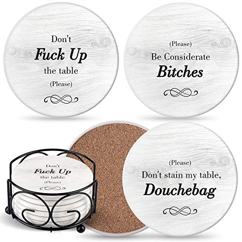 Funny Coasters for Drinks Absorbent with Holder - 6 Pcs Novelty Gift Set - 3 Sayings - Unique Present for Friends, Men, Women, Housewarming, Birthday, Living Room Decor, White Elephant, Holiday Party