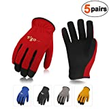 Vgo. AL-8736 Multi-Functional Gardening Training Crafting Work Gloves Value Pack(5-Pairs, 5 Color, Size M/L/XL)