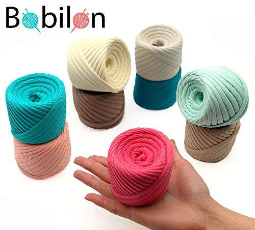 T-Shirt Yarn Fettuccini Zpagetti Set - 9 Balls Total of 196 Yards - Tshirt Yarn Kit for Crocheting - Ribbon Yarn 100% Cotton - Knitting Yarn Ball - T Yarn Organic - T-Yarn Caroline Set