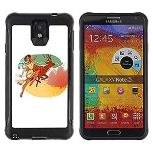 LASTONE PHONE CASE / Suave Silicona Caso Carcasa de Caucho Funda para Samsung Note 3 / Indian Girl Deer Nature Mountains Happiness