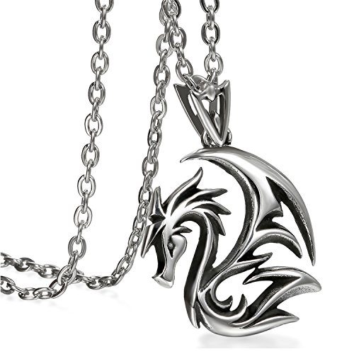 Cupimatch Mens Gothic Dragon Pendant Necklace Chain, Stainless Steel Charm Necklace 24 inch, Black Silver