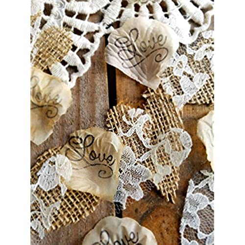 Country rustic wedding decorations amazon burlap and lace silk rose petals rustic wedding confetti for table runner or aisle runner junglespirit Images