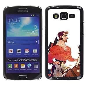 "For Samsung Galaxy Grand 2 II Case , Héroe Caballero Vaquero Blanco Rojo"" - Diseño Patrón Teléfono Caso Cubierta Case Bumper Duro Protección Case Cover Funda"