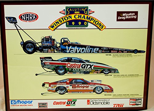 (1990 - Express Litho - NHRA - Winston Drag Racing - Saluting the Winston Champions of 1990 - Framed - 22 x 28 Inches - Artist Hector Cademartori - OOP)