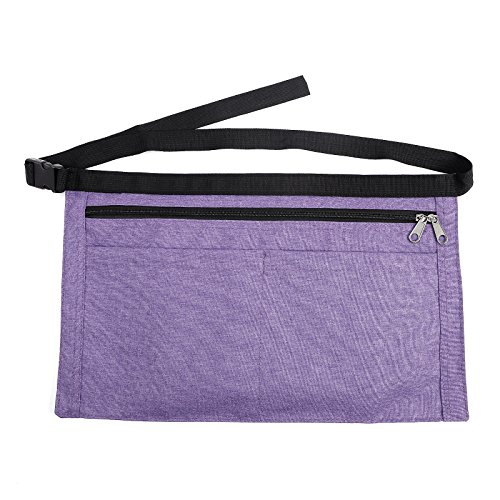 Denim Market Trader Money Belt Bag 4 Pockets Apron Pouch Adjustable Waist Strap (Purple)