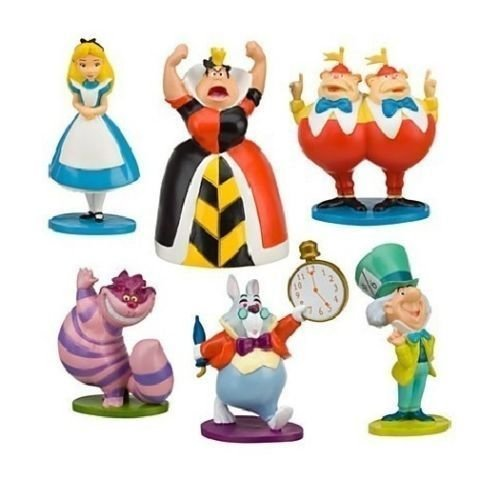 (New Alice in Wonderland Playset 6 Figure Figurines Cake Topper Mini Toy Doll)