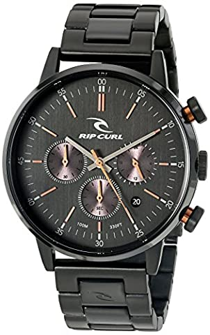 Rip Curl Men's 'Drake Chrono Midnight SSS' Quartz Stainless Steel Sport Watch, Color:Black (Model: (Chrono Watch Sport)