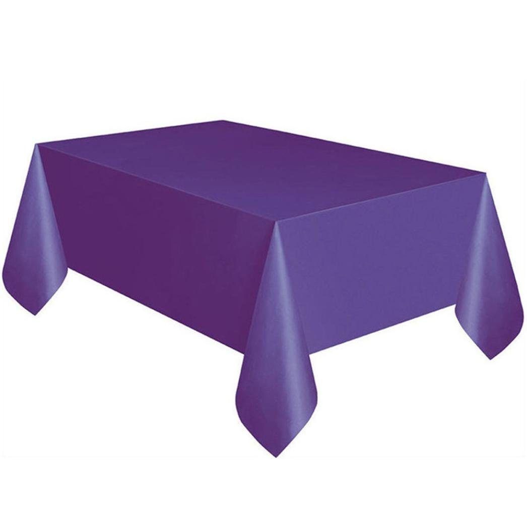 KingWo Large Plastic Rectangle Table Cover Cloth Wipe Clean Party Tablecloth Covers (Purple)