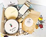 Self Care Lavender Candle Gift Set with 5 Handmade Products Including 4 oz Soy Wax Candle, Matchbox, Face Mask, Bath Salts and Beeswax Lip Balm in Gift Box with Blue Ribbon and Gift Tag