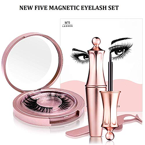 JAHUL False Eyelashes Kit With Magnetic False Eyelashes, Magnetic Eyeliner And Eyelashes Tweezers, No Glue Full Eye 5 Magnets Reusable Fake Eyelashes Natural Soft Eyelashes Extensions-Miami (Best Eyelash Extensions Miami)