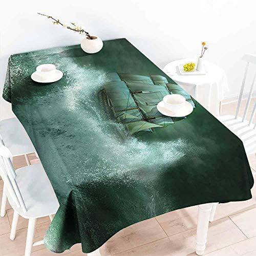 (HCCJLCKS Waterproof Tablecloth Pirate Ship Old Ship in Thunderstorm Digital Artwork Fantasy Adventure Party W60 xL102 Jade Green Dark Green White)