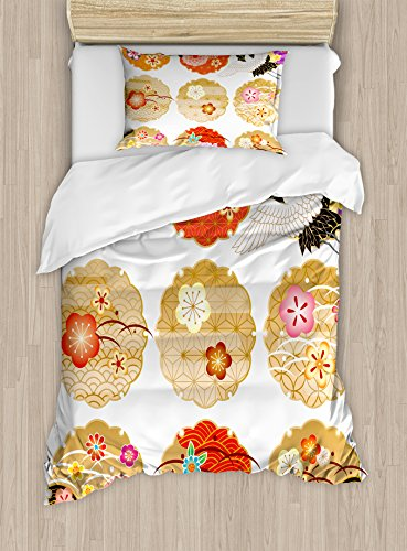 Ambesonne Japanese Duvet Cover Set Twin Size, Floral Round Patterns Antique Asian Nature Figures Style Organic Theme Artwork, Decorative 2 Piece Bedding Set with 1 Pillow Sham, Multicolor by Ambesonne