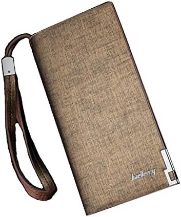 Zando Men's Leather Long Credit Card Holder Bifold Strap Wallet Billfold