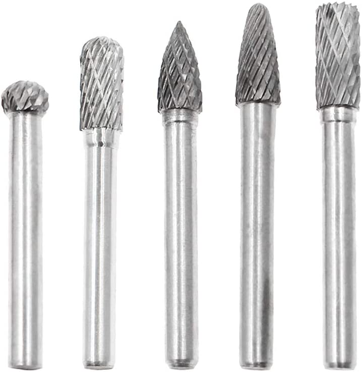 Kmitmuk 5 Pcs Tungsten Steel Carbide Burr Set with 8mm Head /& 1//4 Shank Double Cut Die Grinder Bits for Die Grinder Drill Metal Polishing Engraving Woodworking Carving