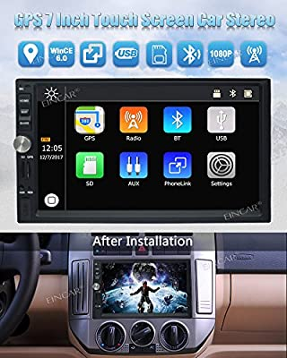 EinCar Car Audio Double Din 2DIN 7 Touchscreen MP5 Stereo in Dash GPS Navigation Support Bluetooth Mirror Link EQ SWC USB SD + 8GB Map Card & Wireless Waterproof Backup Camera with Nightvision by EGood CO., LTD.