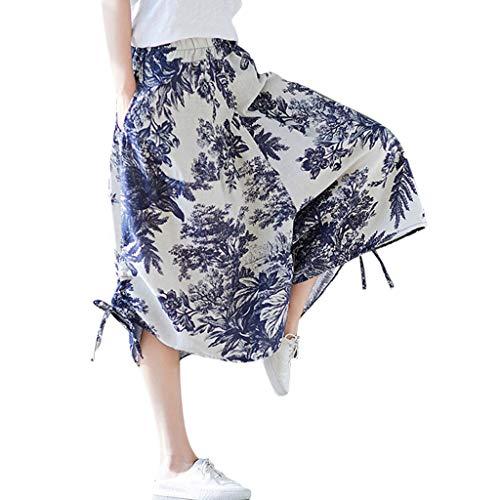 JOFOW Harem Pants Womens Capri Ethnic Boho Flowers Floral Leaves Print Loose Strappy Dress Pant High Waist Retro Crop Trousers (One,Cream)