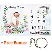 Baby Monthly Milestone Blanket for Girl/Large & Soft/Newborn Photo Prop Blanket/Unique Baby Shower Gift for New Moms/NO Ironing Needed/Months Blanket/Watch me Grow Blanket/Baby Blanket with Months