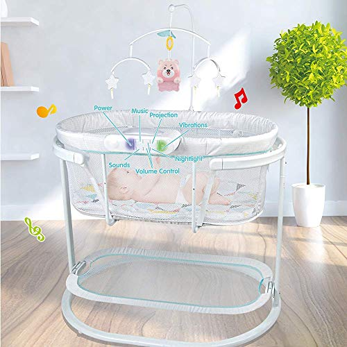 COLOR TREE Baby Soothing Motions Bassinet,Sleeper Bassinet Cradle for Newborn Baby