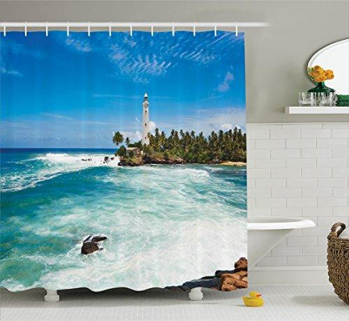 Ambesonne Lighthouse Decor Shower Curtain Set, Tropical Island Lighthouse with Palm Trees Rocks Wavy Seaside Beach Ocean, Bathroom Accessories, 75 inches Long, Blue White (Long Beach Island Lighthouse)