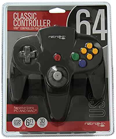 retrolink nintendo 64 classic usb enabled wired controller for pc and mac black. Black Bedroom Furniture Sets. Home Design Ideas