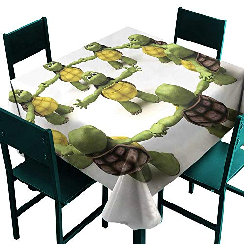 Warm Family Reptile Elegance Engineered Tablecloth Ninja Turtles Dancing Tortoise Team Relax Fun Happiness Childhood Kids Print Indoor Outdoor Camping Picnic D63