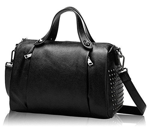 Bowling Purse - Mn&Sue Women's Medium Doctor Style Rivet Studded Genuine Leather Top Handle Barrel Purse Boston Handbag (Black)