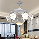 Huston Fan Modern Ceiling Fan with 8 Pieces Acrylic Flower and 4 Retractable