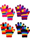 Emmalise Children Kids Winter Cold Weather Winter Knit Gloves - Dbl HPink, Dbl Rd, Dbl Pr, Dbl Bk