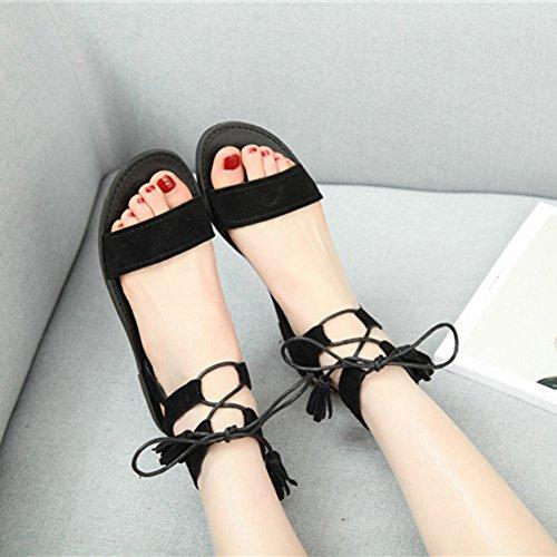 Btrada Womens Tassel Flat Sandals Lace Up Open Toe Roman Ankle Strap Sandals Black rg0XdIrL