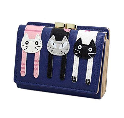 Women Bowknot Long Purse Button Wallet Clutch Hand Bag (Dark Blue) - 2