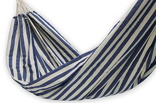 "NOVICA Blue and White Striped Brazilian Outdoor Cotton Hammock, 'Maritime Brazil' (single) - HAM0010 - Size: 125.2"" L x 56.7"" W Authentic: an original NOVICA fair trade product in association with National Geographic. Certified: comes with an official NOVICA Story Card certifying quality & authenticity. - patio-furniture, patio, hammocks - 51K35KE5ywL -"