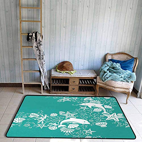 Bath Rug 3D Digital Printing pad Sea Animals Dolphins Flowers Sea Life Floral Pattern Starfish Coral Seashell Wallpaper Hard and wear Resistant W59 xL71 Sea Green White ()