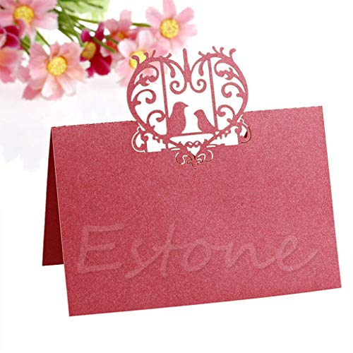 PoityA 50Pcs Wedding Lovebirds Place Name Cards Personalised/Tableware/Seating ()