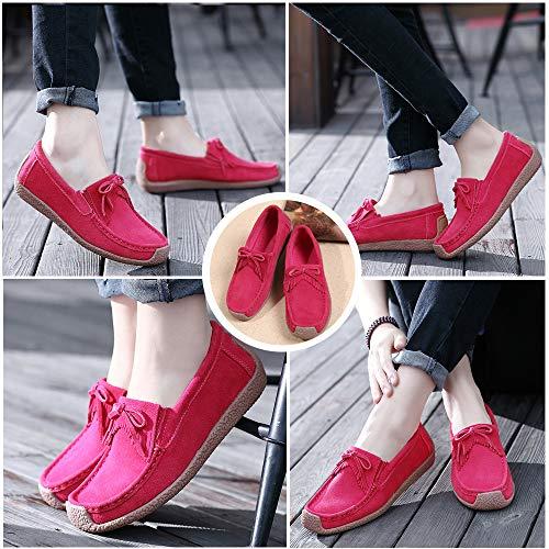 Women's Red Rubber Slippers Loafers Anti Slip Moccasin Sole HooyFeel Rwqgw