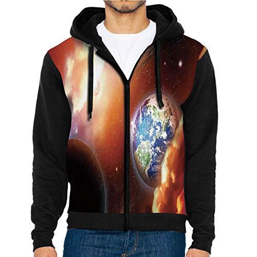 3D Printed Hoodie Sweatshirts,Scene with Planet Earth,Hoodie Casual Pocket Sweatshirt