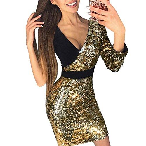 Snowfoller Fashion Women Sequins Bodycon Dress,Sexy Deep V-Neck One Shoulder Asymmetric Bling Splice Party Mini Dress (M, Gold)