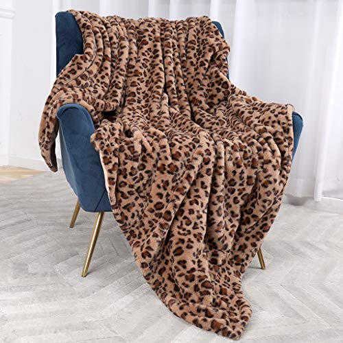 Bonzy Home Luxury Faux Fur Bed Blanket, Super Soft Fuzzy Cozy Warm Fluffy Plush Hypoallergenic Reversible Blankets for Bed Couch Chair Fall Winter Spring Living Room (60 x 80) - Brown Leopard Print (Blanket Leopard Plush)