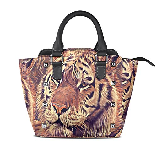 Bag Hand Designer Brown Handbag Handle Women Printed with Top Fashion Gift Best Shoulder Leather Compartments 3 Tote Tiger Animal w0nvgRq
