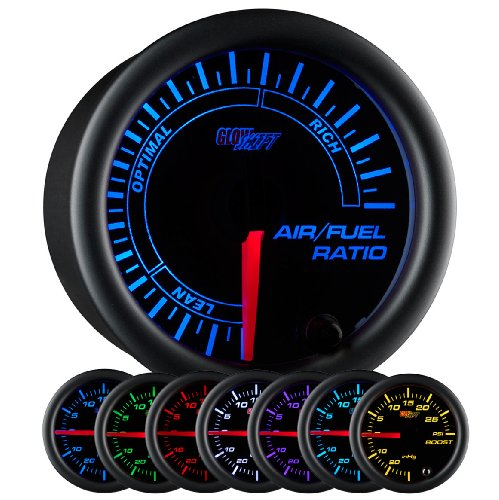 GlowShift Black 7 Color Narrowband Air/Fuel Ratio AFR Gauge - Lean, Optimal & Rich Readings - Black Dial - Clear Lens - 2-1/16