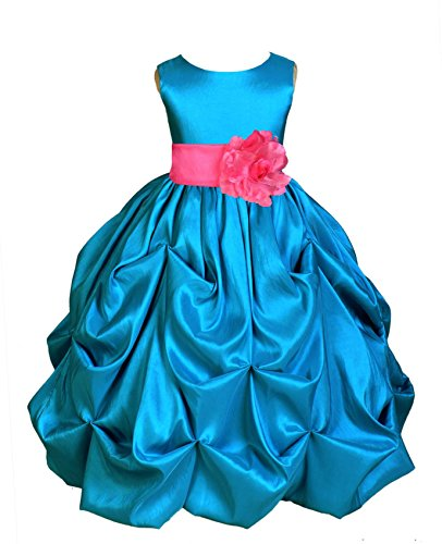 Wedding Pageant Turquoise Bubble Pick-up Kid Flower Girl Dress 301s 10