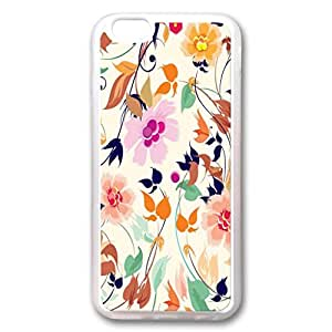 Custom Iphone 6 Case,Background flowers TPU White Iphone 6 Cases